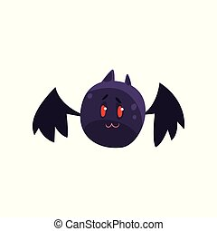 Cute cartoon halloween bat character flying vector Illustration on a white background