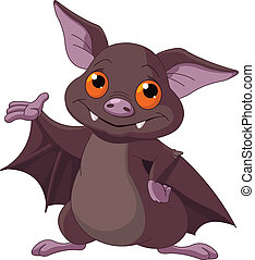 Halloween bat presenting - Cute Cartoon Halloween bat ...