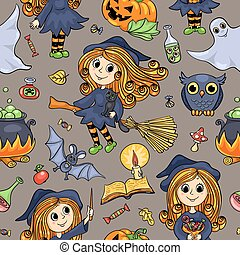 Cute cartoon Halloween hand-drawn seamless pattern