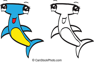 Cute cartoon hammerhead