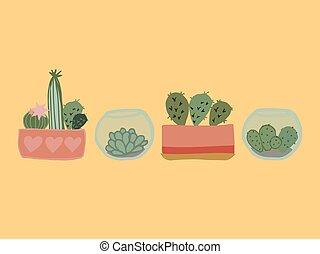 cute cartoon hand drawn cactus set. vector illustration