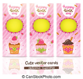 Happy Birthday card set with cupcake.