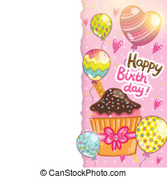 Happy Birthday card with chocolate cupcake.