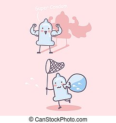 cartoon happy condom