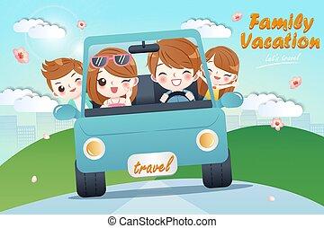 cute cartoon happy family
