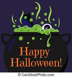 Cute cartoon Happy Halloween card with black witches cauldron with bubbling poison potion, eye, bat wing in fire.