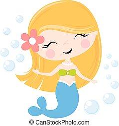 cute, cartoon, havfrue