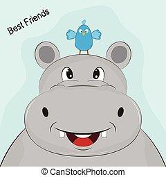 Cute Cartoon head of hippo with small bird.