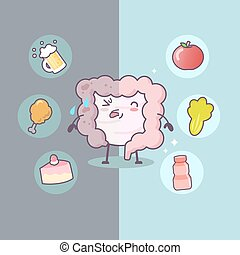 Cute cartoon Healthy and unhealthy intestine with food - great for health care concept
