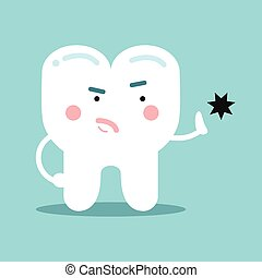 Cute cartoon healthy opposing tooth decay, dental vector...