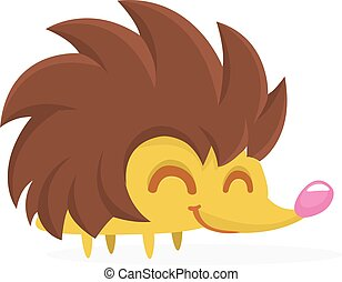 Cute cartoon hedgehog character. Isolated on white background. Vector illustration flat design