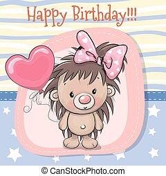 Cute Cartoon Hedgehog Girl with balloon
