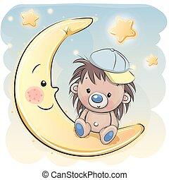 Cute Cartoon hedgehog on the moon