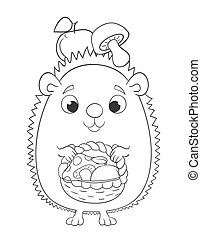 Cute cartoon hedgehog with basket, apples and mushrooms. Coloring page version vector