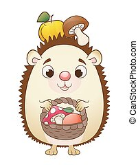 Cute cartoon hedgehog with basket, apples and mushrooms. vector
