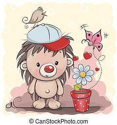 Cute cartoon Hedgehog with flower