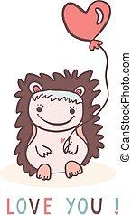 Cute cartoon hedgehog with love heart balloon
