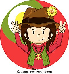 Cute Cartoon Hippie Boy