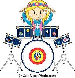 Cute Cartoon Hippie Drummer