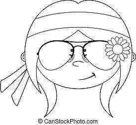 Cute Cartoon Hippie Girl