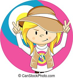Cute Cartoon Hippie Girl