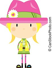 Cute Cartoon Hippie Girl in Hat