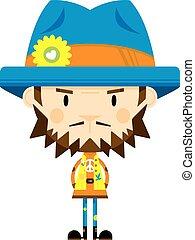 Cute Cartoon Hippie in Hat