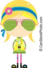 Cute Cartoon Hippie in Shades