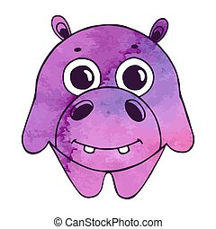 Cute cartoon hippo isolated on white background. Vector illustration in sketch style. Stylized watercolor. EPS 10