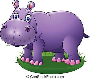 Cute cartoon hippo on the grass