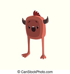 Cute cartoon horned brown monster character with funny face vector Illustration on a white background