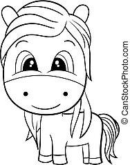 Cute Cartoon Horse. Black and White