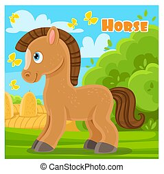 Cute cartoon horse on a farm background