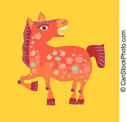 Cute cartoon horse vector illustration. Fun red pony animal mascot.