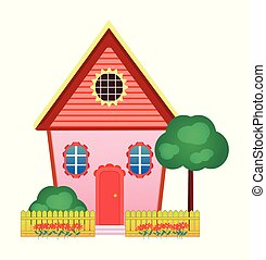 Cute cartoon house isolated on a white background. Vector illustration.