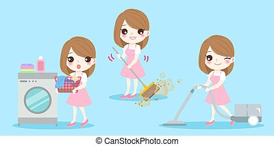 cute cartoon housewife do work on the blue background