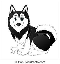 Cute cartoon husky
