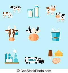 cute cartoon illustration of a cow and products we gain from...