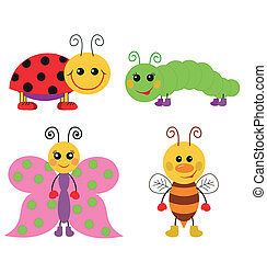 Cute cartoon insect set