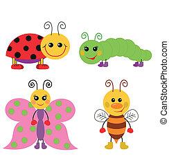 Cute cartoon insect set