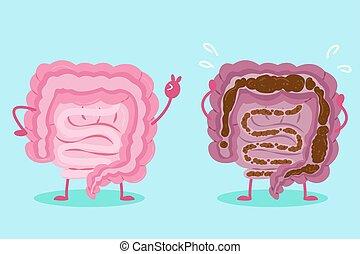 intestine with health concept - cute cartoon intestine with...