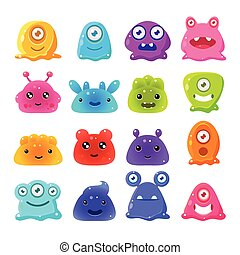 Cute Cartoon Jelly Monsters, Vector Set