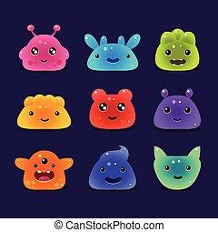 Cute cartoon jelly monsters, vector