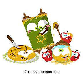 Cute cartoon Jewish New year objects illustration