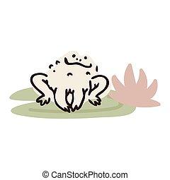 Cute cartoon jumping frog on pond lily pad flower lineart vector illustration. Simple amphibian sticker clipart. Kids lake wildlife hand drawn kawaii aquatic toad.