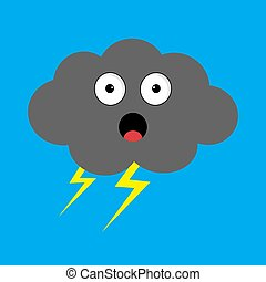 Cute cartoon kawaii dark cloud with thunderbolt. Storm lightning. Surprised emotion. Eyes and mouth. Isolated. Blue sky background. Baby character collection. Funny illustration. Flat design.