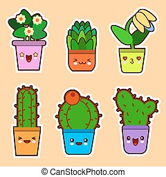 Cute Cartoon Kawaii Set Of Plant Cactus Succulents And Flowers With Funny Faces Flat Design