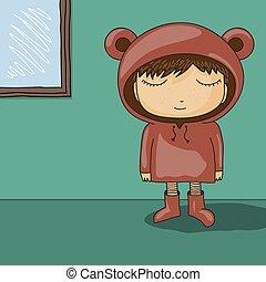 cute cartoon kid with bear ear hood