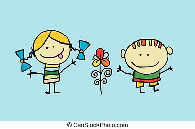 Cute cartoon kids, girl and boy with flower