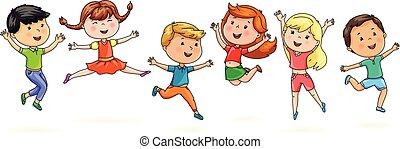 Cute cartoon kids jumping fun